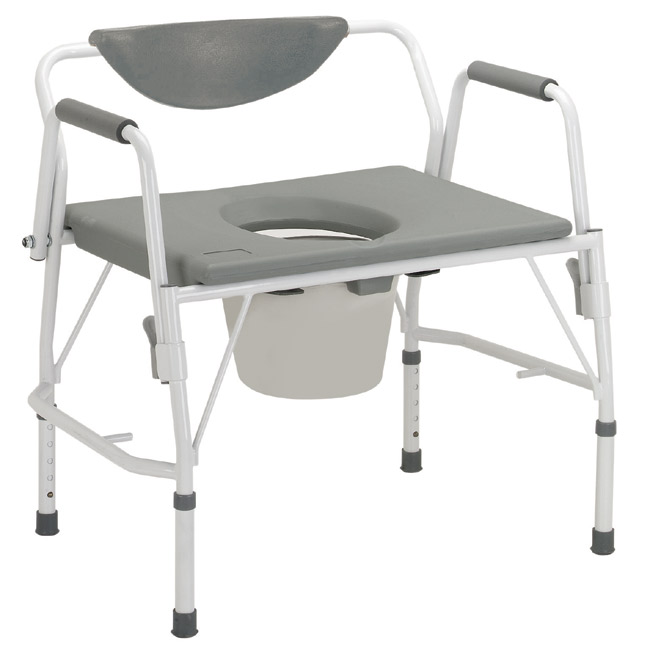 Deluxe Bariatric Drop-Arm Commode Assembled