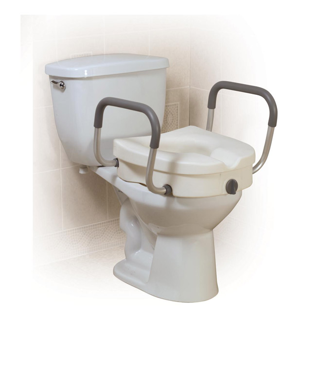 Drive Medical 12008KDR 2 in 1 Locking Elevated Toilet Seat with Tool Free Removable Arms