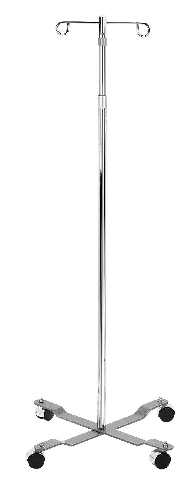 Drive Medical 13033 Economy I.V. Pole 4 Leg with Removable Top 2 Hook