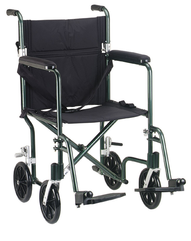 Drive Medical FW19BL Fly-Weight Deluxe Aluminum Transport Chair 19 Inch Blue