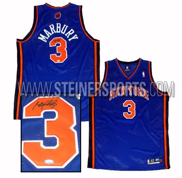 Sports Jerseys - Steiner Sports Stephon Marbury Hand Signed Knicks Blue Jersey MARBJES000001