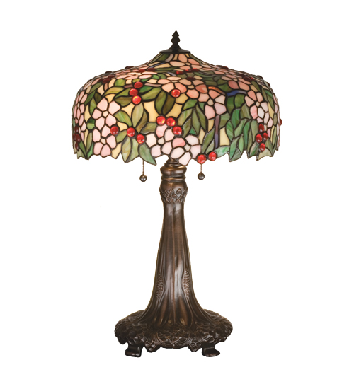 Meyda Tiffany 15403 24.5 Inch H Tiffany Cherry Blossom Table Lamp