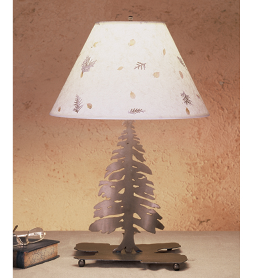 Meyda Tiffany 50603 22 Inch H Pine Tree With Foliage Paper Table Lamp