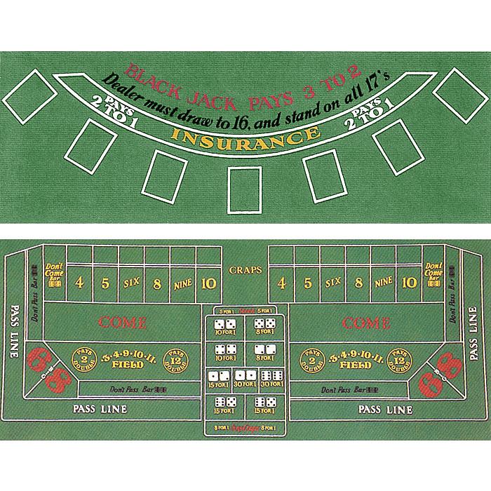 Blackjack and Craps 2 Sided Layout 36 x 72 inch POKER251