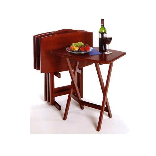 Winsome 94517 5pc TV Table Angle Shaped Tables with Stand-Walnut