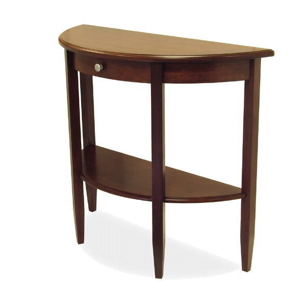 Winsome 94039 Half Moon Table with Drawer/Shelf-Antique Walnut