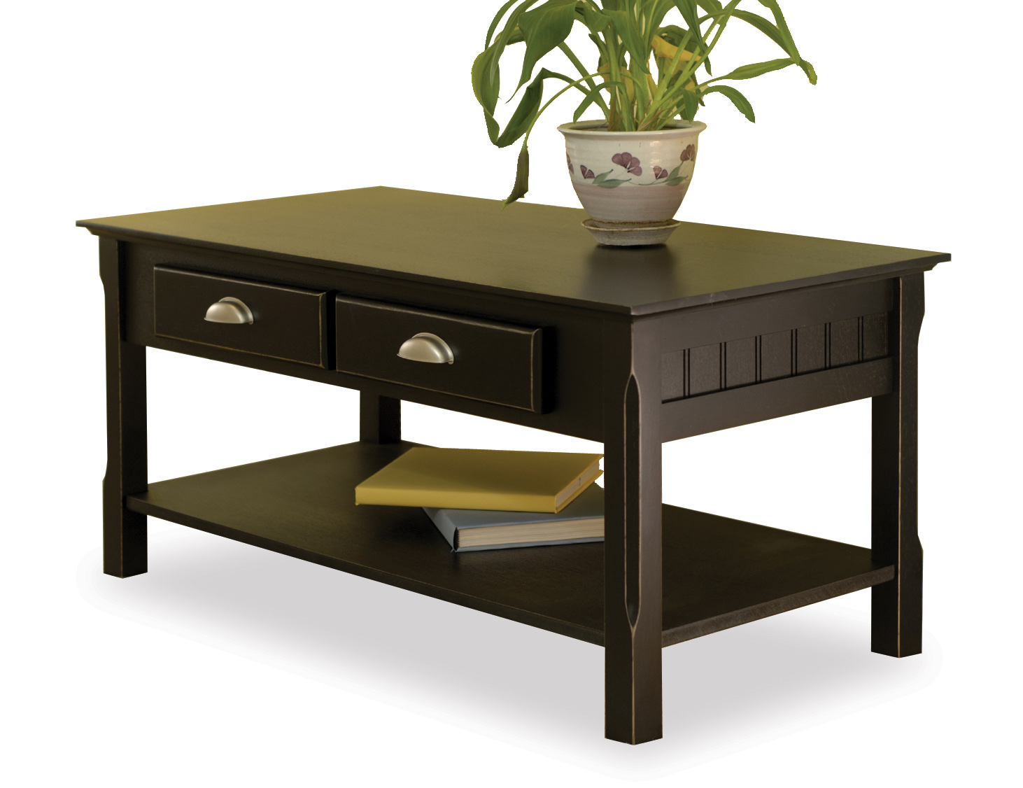 Winsome 20238 Black Beechwood COFFEE TABLE TWO DRAWERS ONE BOTTOM SHELF