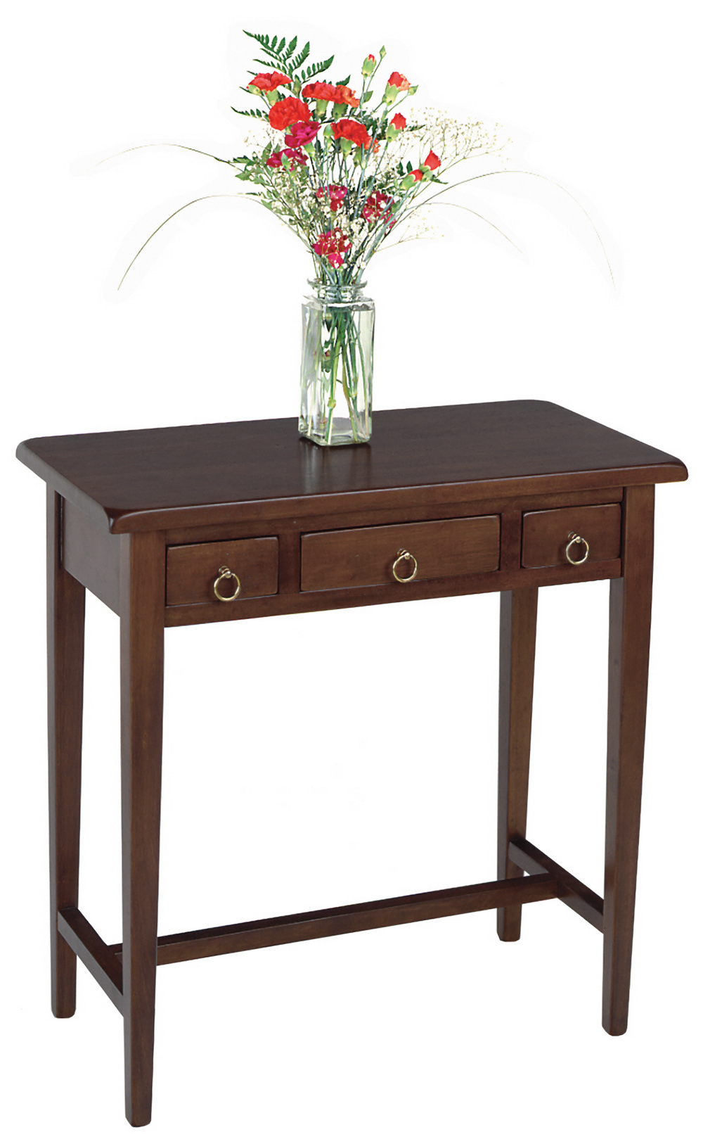 Winsome 94329 Walnut Beechwood HALL TABLE 3 DRAWERS