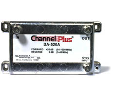 CHANNEL PLUS DA-520A RF Amplifier Bandwidth: full CATV spectrum