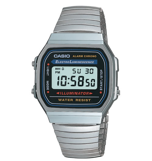 Casio A168W-1 Mens Casual Classic Black Faced/Metal Band Watch