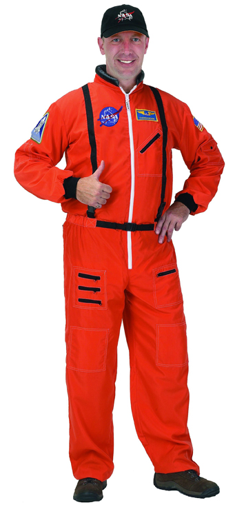 Aeromax ASO-ADULT LRG Adult Astronaut Suit with Embroidered Cap LRG - Orange