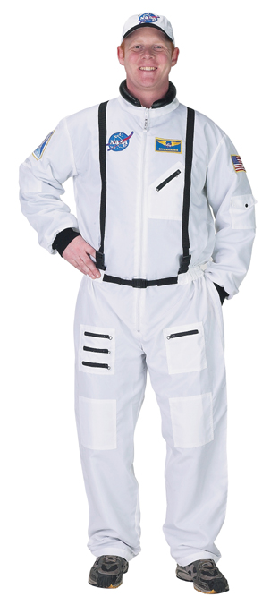 Aeromax ASW-ADULT SM Adult Astronaut Suit with Embroidered Cap SM white
