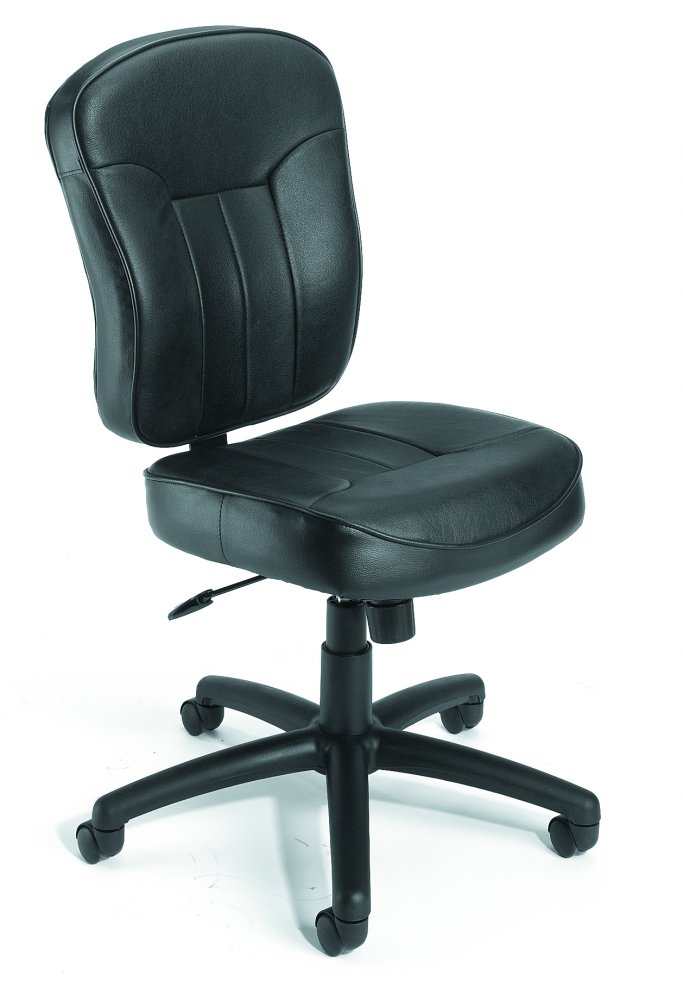 Boss B1562 Leather Task Chair With Loop Arms - Black (Pictured without loop arms)