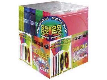 MAXELL Double Slim Jewel Cases 25pk Color 190131