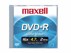 MAXELL DVD-R 4.7GB 16X Single Std Jewe 638000