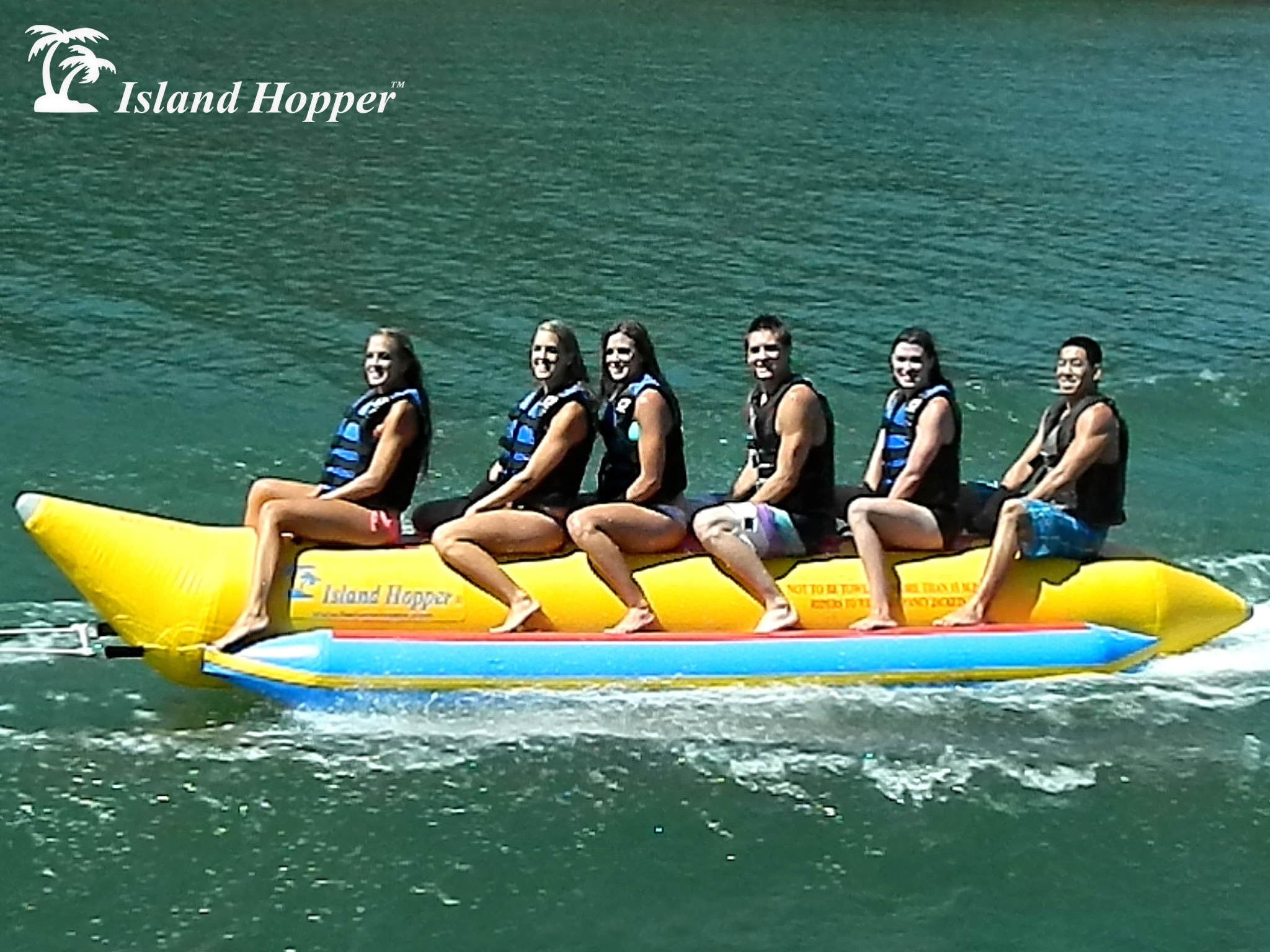 Aqua Sports PVC-6-INLINE 6 Passenger 19 Feet In-line Seats Island Hopper Commercial Banana Water Sled