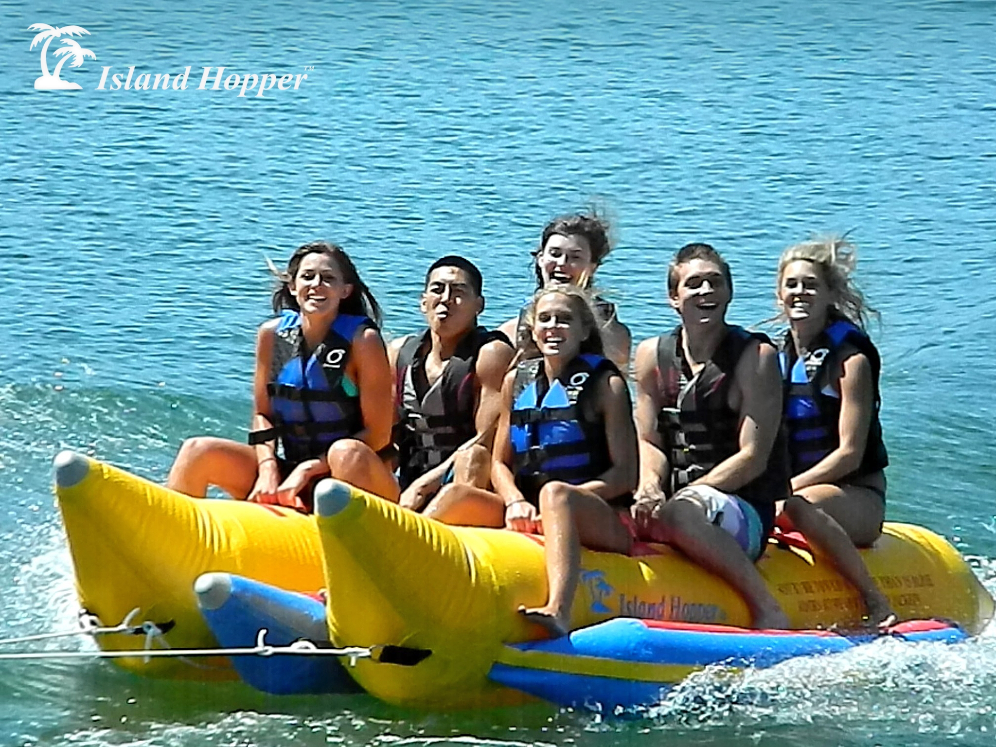 Aqua Sports PVC-6-SBS 6 Passenger 13 Feet Side-to-Side seating Island Hopper Commercial Banana Water Sled