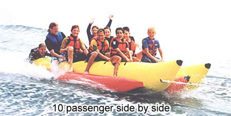 Aqua Sports PVC-10-SBS 10 Passenger 13 Feet Side-to-Side Seating Island Hopper Commercial Banana Water Sled