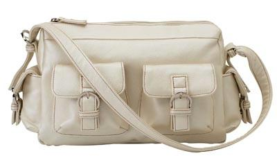 Faux Purses - Embassy Pearl White Faux Leather Purse With Chrome Hardware