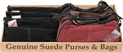 Suede Purses - Maxam 8pc Genuine Suede Leather Purse Tray