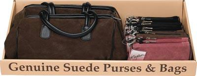 Suede Purses - Maxam 10pc Genuine Suede Leather Purse Tray