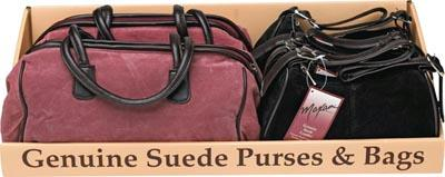 Suede Purses - Maxam 6pc Genuine Suede Leather Purse Tray