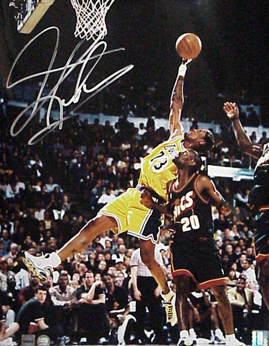 Superstar Greetings Dennis Rodman Signed 16 X 20 Photo Action Lakers (Rebounding Vs. Sonics) DR-16b