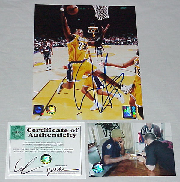 Superstar Greetings Dennis Rodman Signed 8 X 10 Photo Action Lakers-- (Rebounding Vs. Rockets) DR-8a