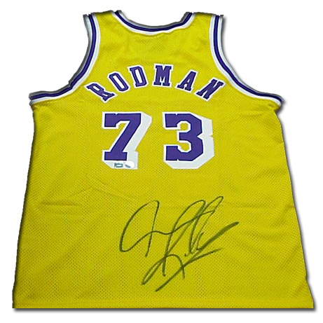 Superstar Greetings Dennis Rodman Signed Authentic Nike Lakers Jersey --Gold DR-AJL