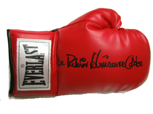 Boxing Gloves - Superstar Greetings Hurricane Carter Signed Everlast Boxing Glove HC-SG