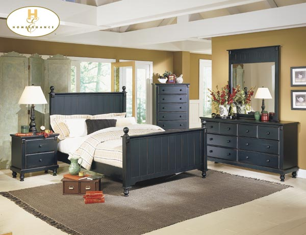 Home Elegance Cottage Style Black Full Bed with Paneling 875F-1