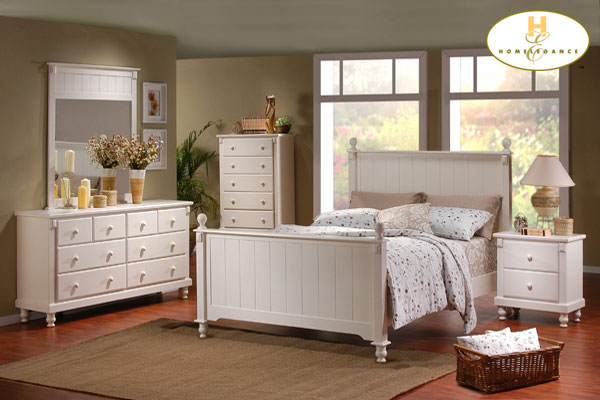 Home Elegance Cottage White King Bed with Paneling 875KW-1CK