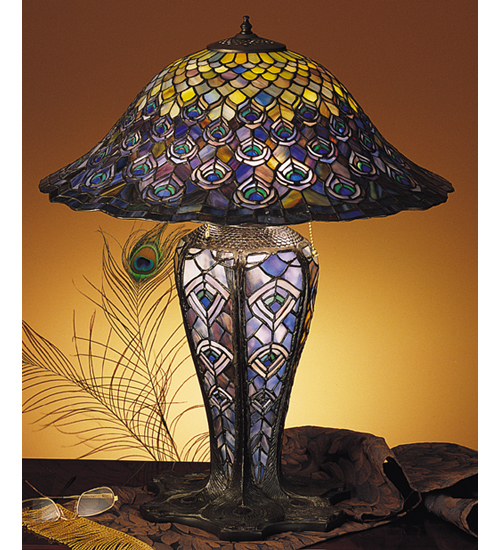 Meyda Tiffany 26665 24.5 Inch H Tiffany Peacock Feathers Lighted Base Table Lamp