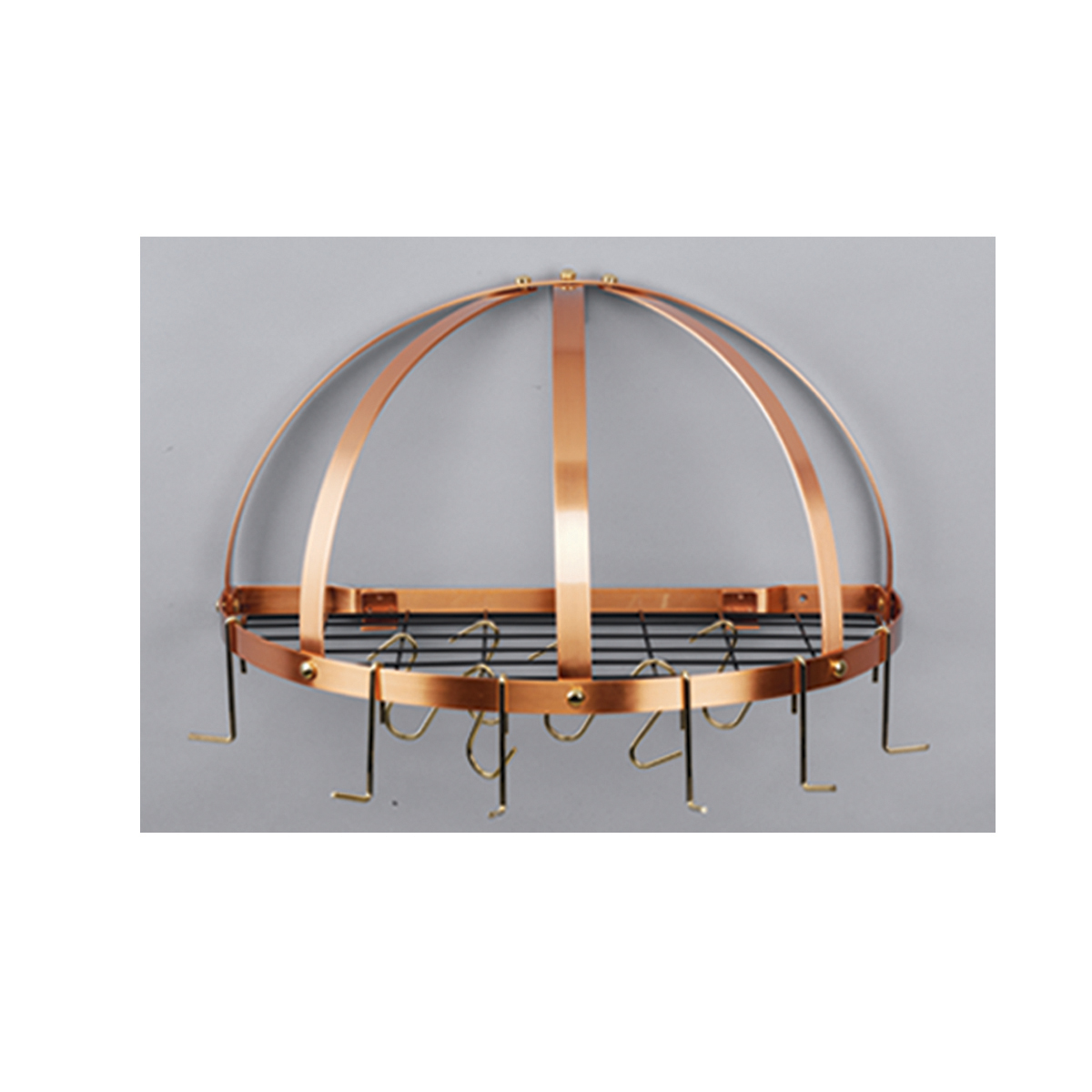 Old Dutch 055CP 22 Inch x 11.5 Inch Satin Copper Pot Rack with Grid & 12 Hooks