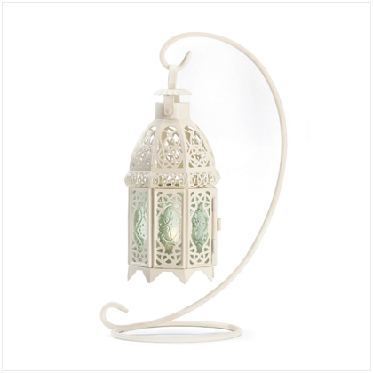 SWM 37439 White Fancy Antique Lattice Candle Lantern with Stand