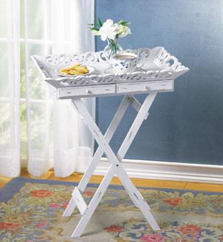 "SWM 33139 22"" L x 15 1/2"" W x 27"" H Wood Elegant Tray Table Stand - White"