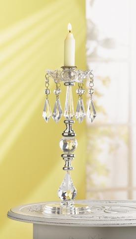 "SWM 33802 3 3/4"" L x 3 3/4"" W x 11 3/4"" H Jeweled Candleholder"
