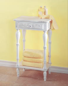 SWM 34353 Carved White Side Table