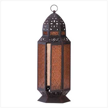 SWM 34691 Tall Moroccan Style Amber Glass Candle Patio Lantern