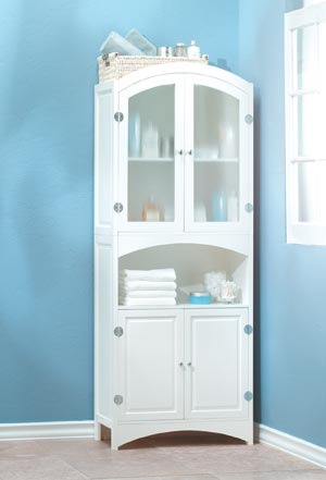 SWM 35014 Wood White Glass Door Bathroom Linen Storage Cabinet