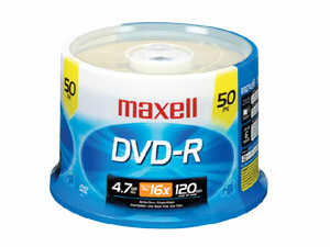 MAXELL 638011 16x DVD-R Spindle - 50 Pack