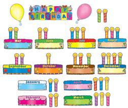 CARSON DELLOSA CD-110038 BIRTHDAY CAKES MINI BULLETIN BOARD Set
