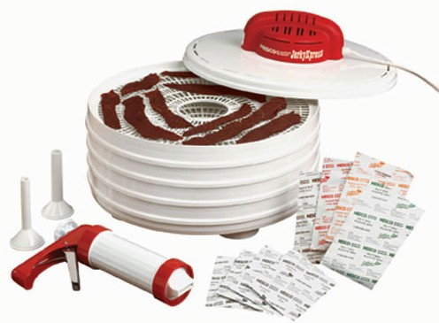 Nesco FD-28JX Jerky Xpress 4 Tray with Jerky Gun 4 Spices White