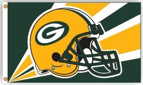 Green Bay Packers Flag 3x5 Helmet Design