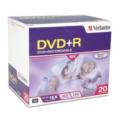 Verbatim 16X DVD+R 4.7GB Branded 20PK 95038