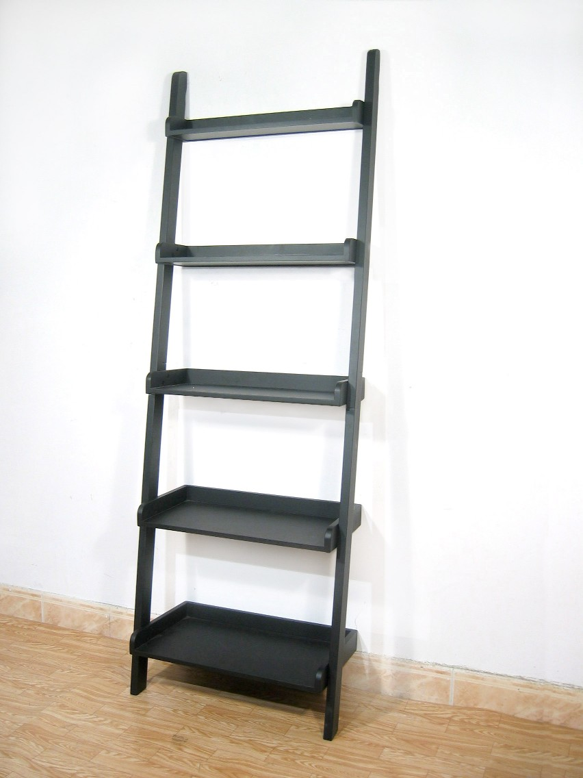 International Concepts SH67-2660 5 Tier Leaning Shelf - Black