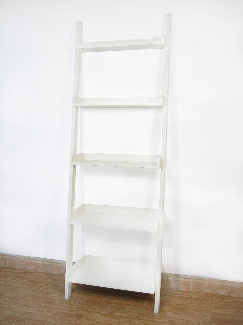 International Concepts SH69-2660 5 Tier Leaning Shelf - Linen White