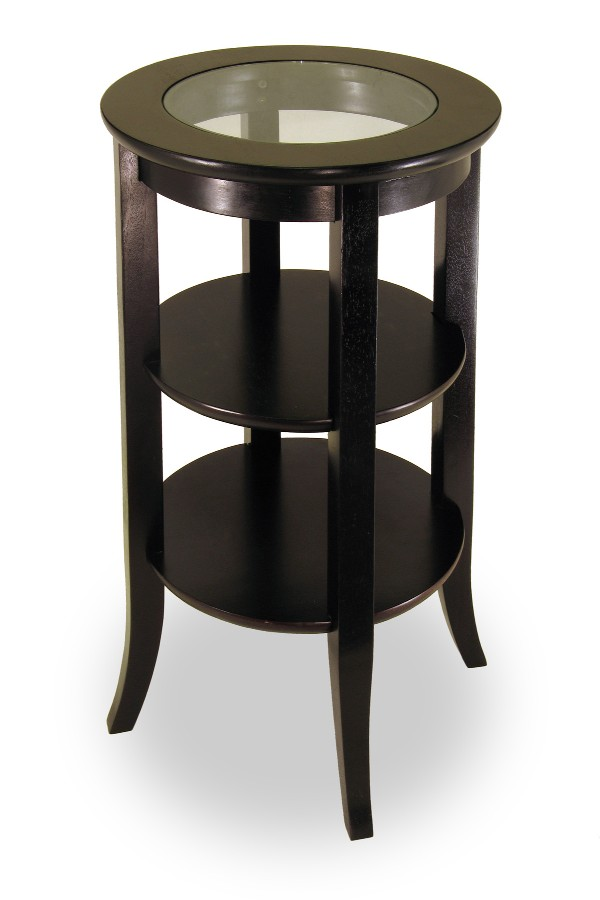 Winsome 92318 Espresso Solid Wood TABLE SIDE RND GLASS TOP 2 SHELVES