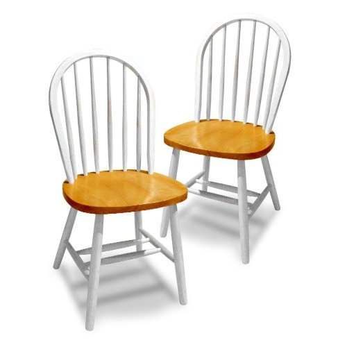 Winsome 53999 Natural & White Beechwood SET OF 2 WINDSOR CHAIRS