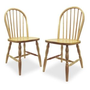 Winsome 83237 Beech Beechwood SET OF 2 WINDSOR CHAIRS WITH CURVED LEGS